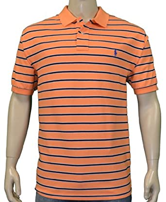 Polo Ralph Lauren Men's Classic Fit Mesh Striped Shirt Orange-XL