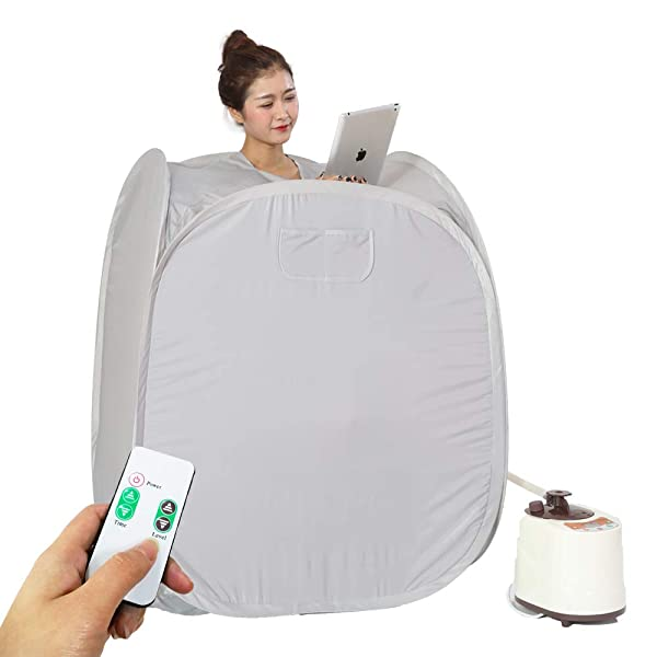 Lightweight Tent One Person Full Body Spa for Weight Loss Detox Therapy -RED Smartmak Portable Steam at Home Sauna Upgrade 2L Steamer US Plug
