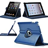 ATC 360 Degree Rotating iPad 2 Case (Navy Blue): Folio Convertible Cover Multi-angle Vertical and Horizontal Stand with Smart On/Off for the Apple iPad2