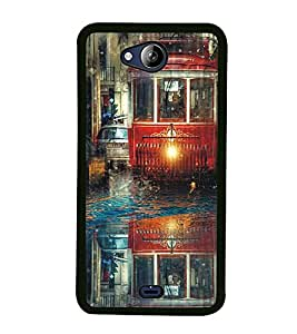 Fuson Premium 2D Back Case Cover Tram With Pink Background Degined For Micromax Canvas Play Q355
