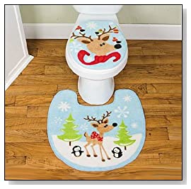Reindeer Christmas TOILET Seat Cover RUG Mat Bathroom SET