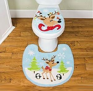 reindeer christmas toilet seat cover rug mat bathroom set 2