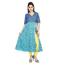 Jaipuri ada Blue Printed Ethnic Cotton Calf-Length Anarkali Kurti