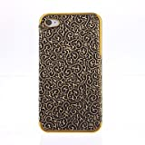 Deluxe Palace Embossed Leather Gold Frame Case for iPhone 4/4S (Gold)