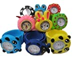 1x kids children's (random selection) slap on snap silicone band Mickey, Nemo, bees, frog, panda, bunny wrist watches for party gift bags by Fat-catz