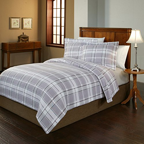 Pointehaven 2-Piece 200 GSM Flannel Duvet Cover Set, Twin/Twin X-Large, Printed, Jensen (Flannel Duvet Cover Twin compare prices)