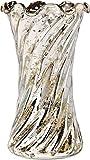 Luna Bazaar Vase (6-Inch, Ruffled Swirl Design, Silver Mercury Glass) - Decorative Vintage Flower Vase - For Home Decor and Wedding Centerpieces
