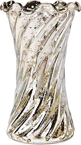 Luna Bazaar Vintage Mercury Glass Vase (6-Inch, Ruffled Swirl Design, Silver) - Decorative Flower Vase - For Home Decor and Wedding Centerpieces