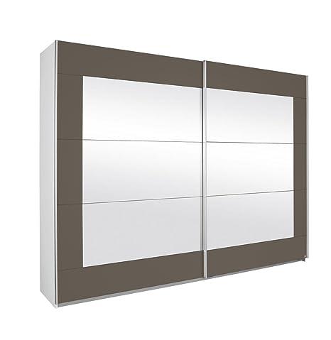 Rauch A9N28.5115 Schwebeturenschrank Alegro, 2-turig, 271 x 210 x 62 cm, Absetzung Spiegel, Korpus: alpinweiß, Front: lavagrau