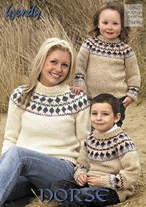 Knitted Throws Free Patterns : Wendy Norse Chunky Fairisle Yoke Sweater Knitting Pattern Adults & Childr...