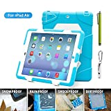 ACEGUARDER Apple Ipad Air Ipad 5 Case Waterproof Rainproof Shockproof Kids Proof Case for Ipad 5 (Gifts Outdoor Carabiner + Whistle + Handwritten Touch Pen) (Aceguarder Brand) (LIGHT BLUE/WHITE)