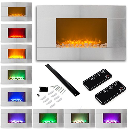 "36"" Adjustable Stainless Steel 1500W Electric Fireplace Heater Natural Stone Mount W/ 2 Remotes"