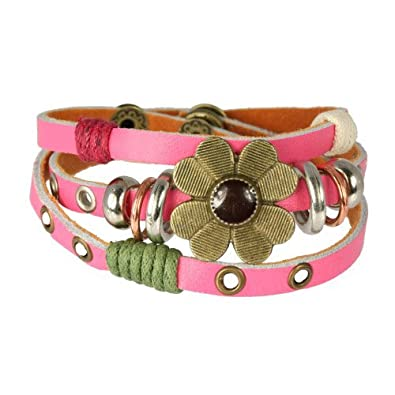 SilberDream leather bracelet pink with rivets and a flower, genuine leather