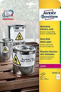 Avery Zweckform L4774-20 Wetterfeste Folien-Etiketten, 99,1 x 139 mm, wetterfest, 20 Blatt/80 Etiketten, weiß