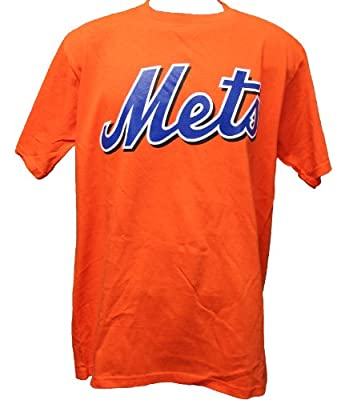 MLB Majestic New York Mets Men's Wordmark T-Shirt Orange