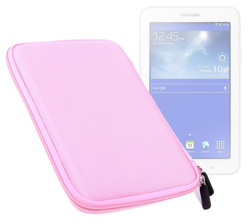 DURAGADGET Pink Shell Hard EVA Cover Case And Cover with Dual Zips for the NEW Samsung Galaxy Tab 3 Lite