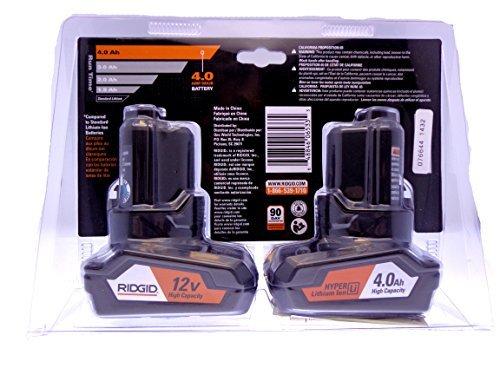 Ridgid 12-Volt 4.0 Ah Hyper Lithium-Ion Battery (2-Pack) (Color: Black)