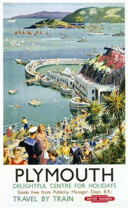 British Railways Travel Poster Art Print, Plymouth, Delightful Centre for Holidays, England