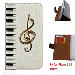 [For iPhone 5 5G 5S ] Artcraft(TM) Premium Luxury Leather 3D Piano Music Note Bling Crystal Flip Case Cover