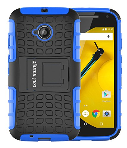 Moto E 2nd Gen Protective Case / Moto E2 Back Case : Cool Mango Premium Dual Layer Armor Protection Case with Kickstand for Moto E 2nd Generation / E2 (3G & 4G Models) - Blue