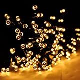 M&T TECH 60 LED Outdoor Garden String Lights Solar Powered for Patio,Outside Party,Fence,Christmas,Wedding(Warm White)