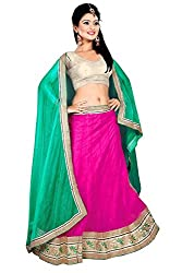 Pushty Fashion Pink and Silver Net and Silk Bordered work Lehenga