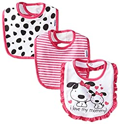 Gerber Baby-Girls Newborn 3 Pack Terry Bib Dalmation, Pink, One Size