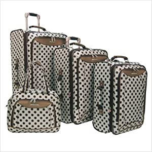 Spearmint Polka Dot 4 Piece Luggage Set in Silver