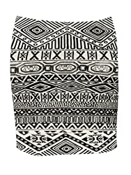 Women Ladies Mini Skirt Skorts Dog Tooth And Aztec Print Mini Skirt