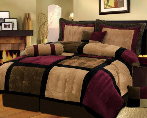 """7 Pieces Brown, Burgundy, and Black Suede Patchwork Comforter Size 90"""" X 92"""" Bedding Set / Bed-in-a-bag Queen Machine Washable"""