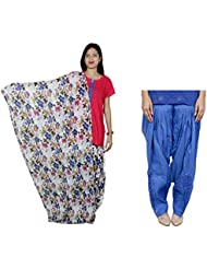 Indistar Women's Cotton MultiColor Patiala Salwar With Dupatta And Blue Patialas Salwar - B01HV4VYKC