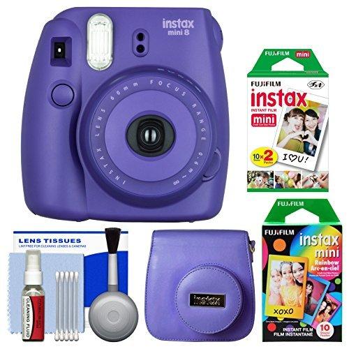 Fujifilm Instax Mini 8 Instant Film Camera (Grape) with 20 Twin & 10 Rainbow Prints + Case + Kit (Mini Instax 8 Grape Kit compare prices)