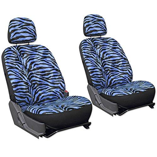OxGord 6pc Set Zebra Animal Print Auto Seat Covers Set - Front Low Back Buckets - Blue & Black (Black Zebra Print Seat Covers compare prices)