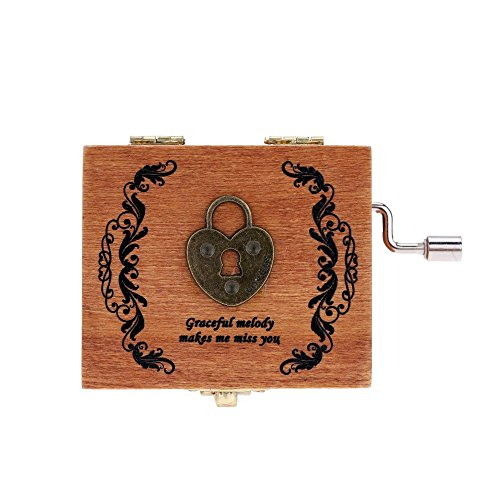 Exquisite Hand Crank Musical Box Retro Vintage Wooden Music Box 4 Different Patterns for Option Beautiful Decorative Patterns 1