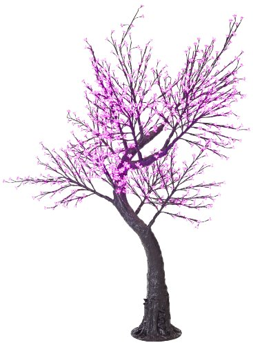 Arclite Nbl-200-7 Cherry Blossom Tree With Leaves, 7' Height, With Black Trunk, Pink Crystals And Pink Lights