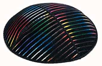 Genuine Suede Black Yarmulke with Multi Colour Stripes, Skull Cap. Kippah Kippot.