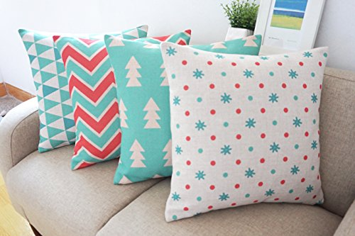 Howarmer Cotton Linen Green Christmas Decorative Pillows Cover Set of 4 18x18-inch Green Christmas Tree,chevron and Spot
