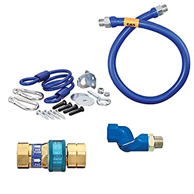 """Dormont 1675BPQSR36 SnapFast® 36"""" Gas Connector Kit with One Swivel and Restraining Cable - 3/4"""" Diameter"""
