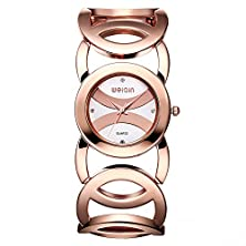 buy Jiangyuyan® Female Rose Gold-Tone Bracelet Watch With Rhinestone Numerals And Hollow Out Strap