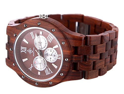 Topwell� Wristwatches Reddish brown Date Time Week Month Wood Wooden Watches Unisex Sandalwood Round Multi-Eyed Hypoallergenic QUARTZ Wood Watch For Christmas gifts birthday Anniversary gifts with Gift Box