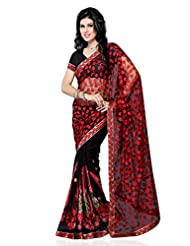 101cart Red And Black Color Net And Georgette Party Wear Saree - B00RHSBRNM