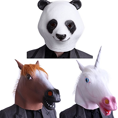HDE Novelty Prop Horse Unicorn Panda Bear Head Halloween Dress-Up Costume Party Mask