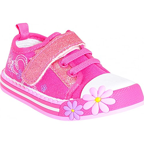 toddlers-girls-babies-kids-pink-flower-sparkly-velcro-pumps-trainers-shoes-size-4-12-uk4-us5-euro20