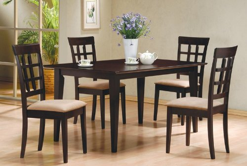 5pc Casual Dining Table & Chairs Set Contemporary Style Cappuccino Finish