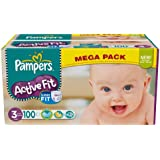 Pampers - 81371245 - Active Fit Couches - Taille 3 Midi - 4-9 kg - Mégapack x 100 Couches