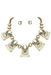 Faux Pearl Teardrop Ivory Rose Gold Geometric Statement Necklace Auralee & Co.