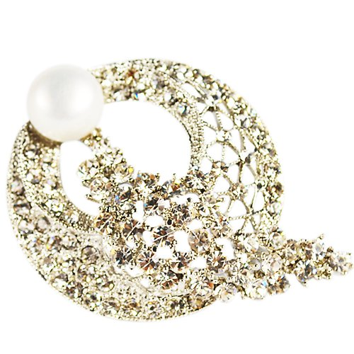 Pearl Brooch --Shining white pearl brooch with 18k high-quality emulational zircon (BR0008)
