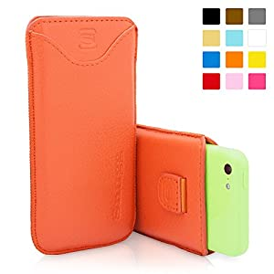 Snugg iPhone 5C Case - Leather Pouch with Lifetime Guarantee (Orange) for Apple iPhone 5C