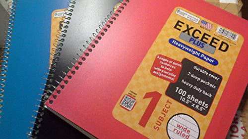 Norcom Exceed Plus Wide Ruled Notebook, 10.5 X 8.5 Inches, 100-Sheets, 3 Notebooks Per Order, Assorted Colors (Norcom Inc Notebook compare prices)