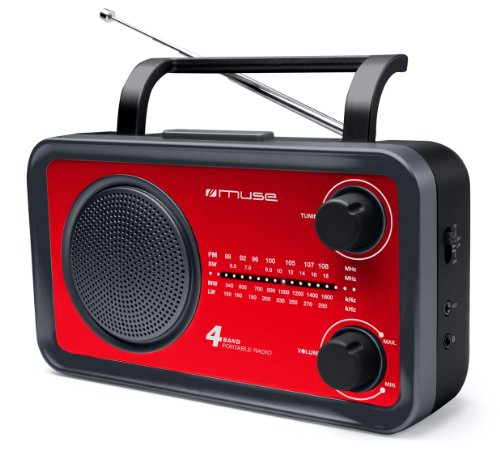 Muse M-05RED Radio portable FM/MW/LW/SW Tuner analogique Secteur ou Pile Rouge
